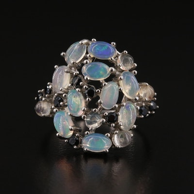 Sterling Silver Black Onyx and Opal Cluster Ring