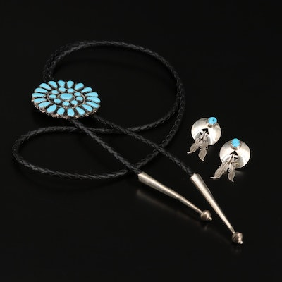 Western Sterling Turquoise and Faux Turquoise Point Work Bolo Tie and Earrings