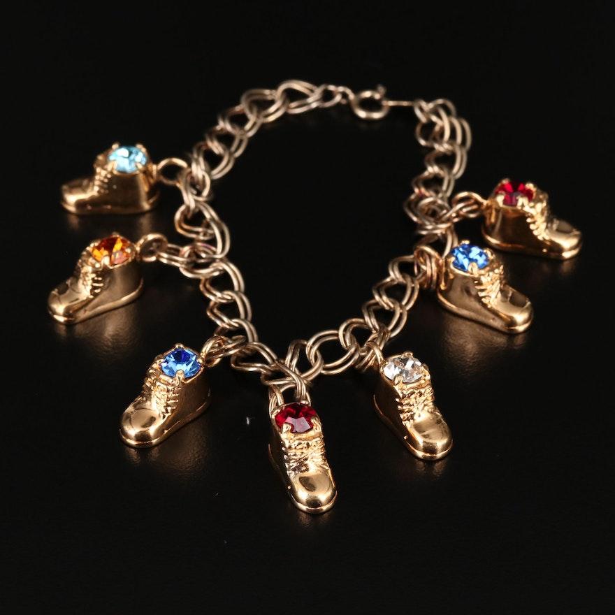 Sterling Silver Sneaker Charm Bracelet