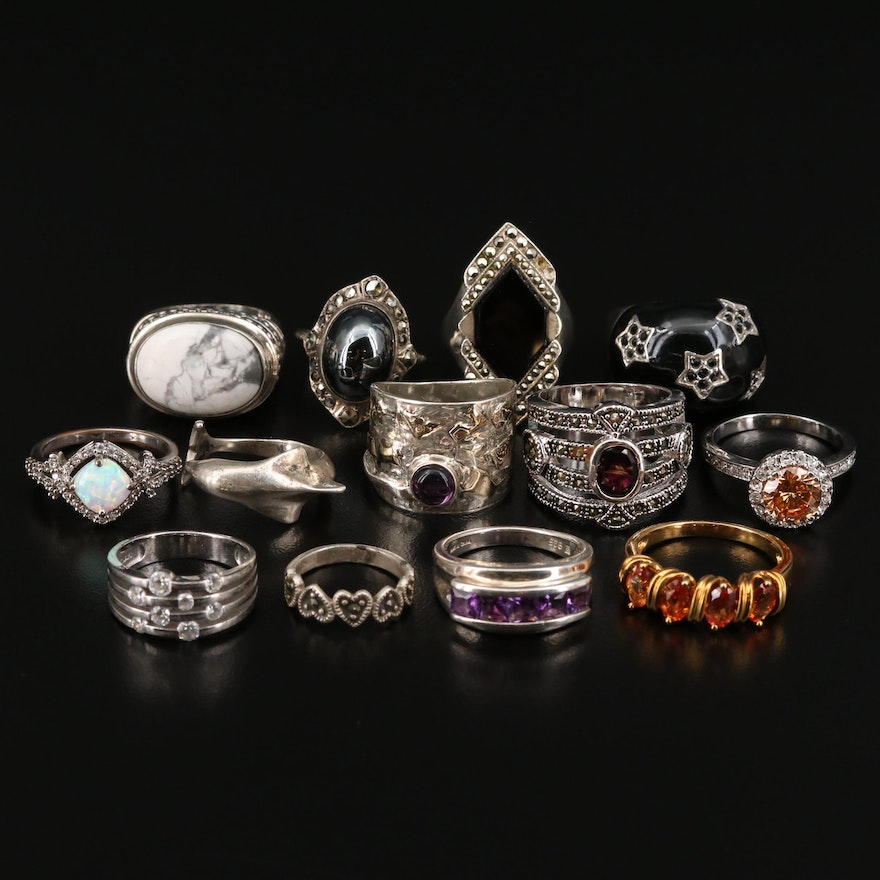 Sterling and Fine Silver Ring Selection Featuring Gemstone Accents