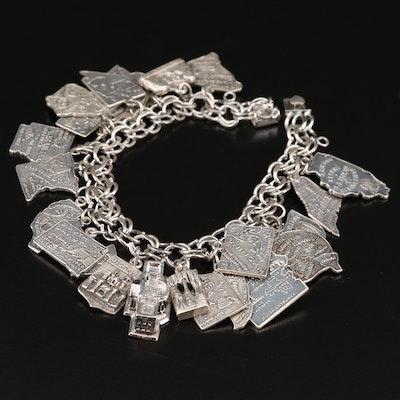 Vintage Sterling Silver U.S. States and Landmarks Charm Bracelet