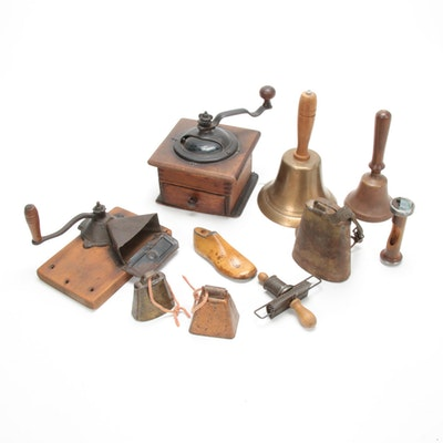 Hand Cranked Coffee Grinder with Assorted Wood, Brass and Copper Décor