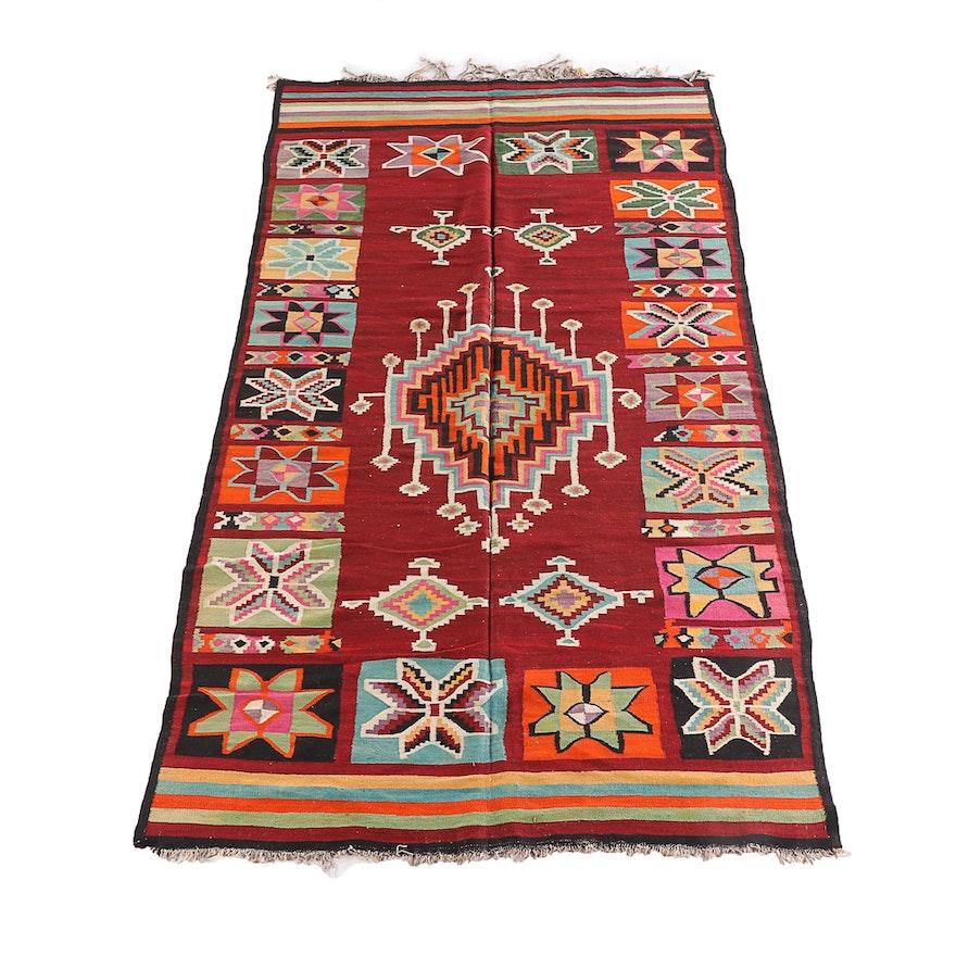 5'8 x 10'6 Hand-Knotted Turkish Kilim Wool Rug