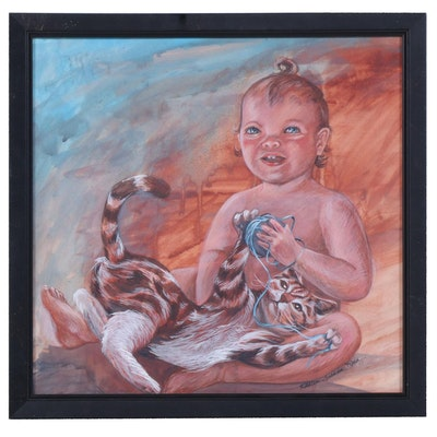 "Kathleen Graham Rice Gouache Painting ""Playmates"", 1988"