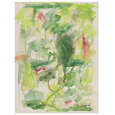 Kathleen Zimbicki Abstract Double-Sided Watercolor Painting