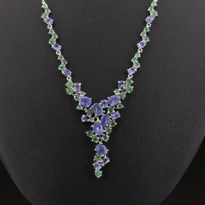 Sterling Silver Kyanite and Emerald Waterfall Necklace