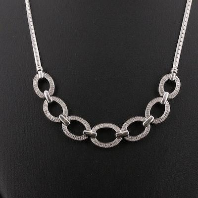 Sterling Diamond Oval Link Necklace