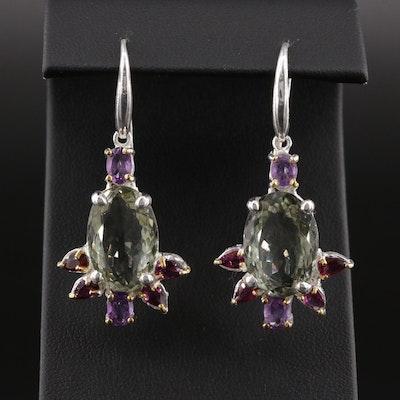 Sterling Silver Citrine, Amethyst and Garnet Dangle Earrings