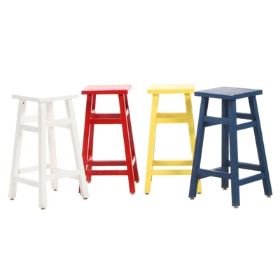 Set of Four Painted Wood Counter Height Stools