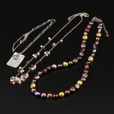 Sterling Silver Necklaces Including Garnet, Shell and Cultured Pearl