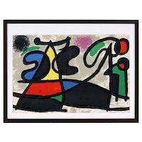 """Joan Miró Double-Page Color Lithograph for """"Derrière le Miroir"""", 1970"""