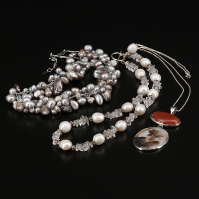 Collection of Strand Necklace with Agate, Shell and Cultured Pearl