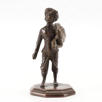 Nomadic Man Bronze Statuette, Mid 20th Century