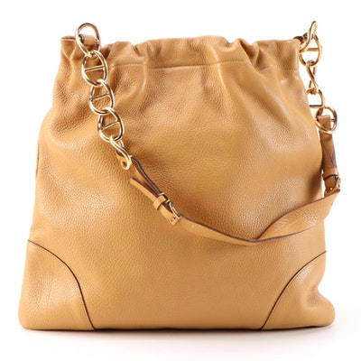 Prada Shoulder Bag in Amber Vitello Daino Leather
