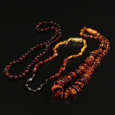 Hand Knotted Amber Beaded Necklace