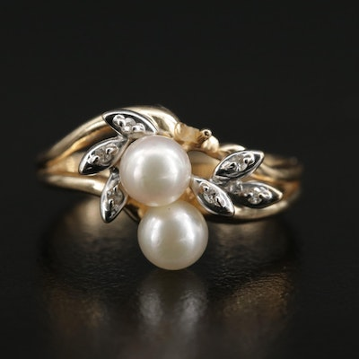 14K Pearl and Diamond Foliate Ring with Split Shank