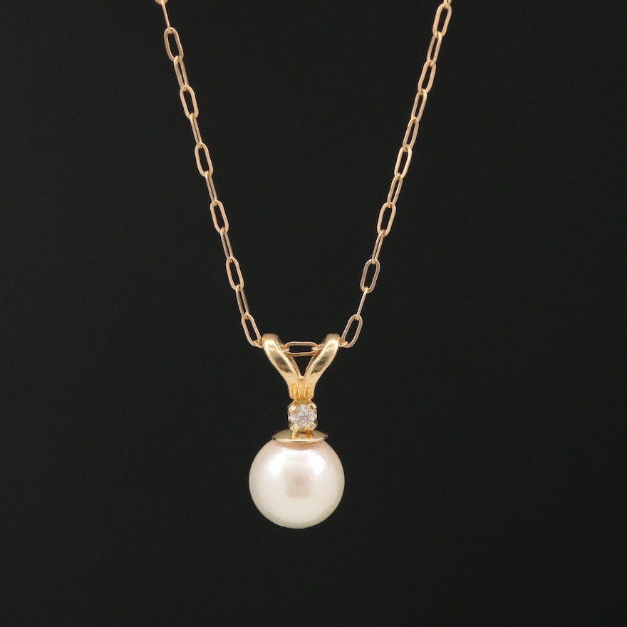 14K Pearl Pendant Necklace