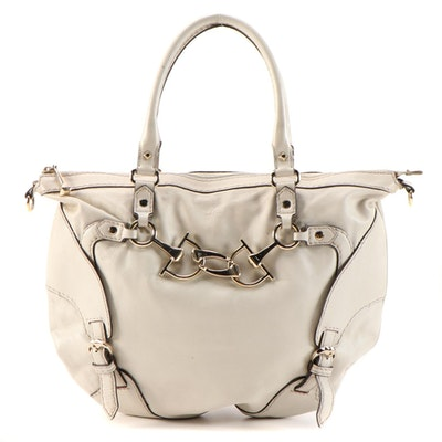 Gucci Horsebit Nail Satchel in Off-White Leather