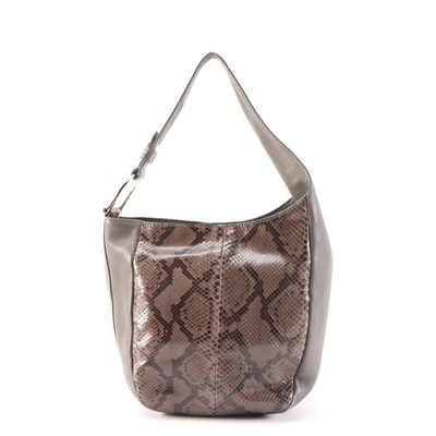 Gucci Greenwich Python and Grey Grained Leather Shoulder Bag
