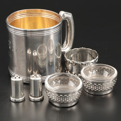 Towle Sterling Cup with Webster Salt Cellars and More Sterling Table Accessories