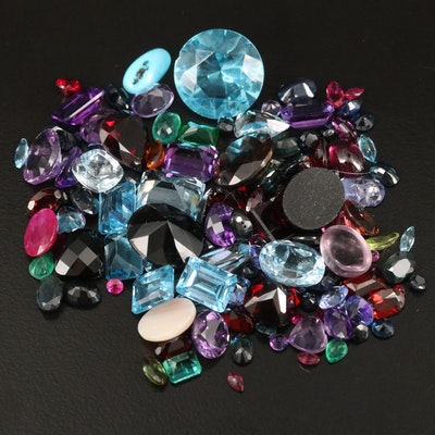 Loose 99.79 CTW Gemstones Including Amethyst, Garnet and Glass