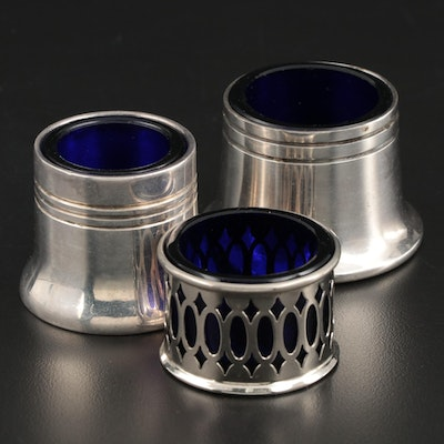 English Capstan Silver Plate and Cobalt Glass Salt Cellars