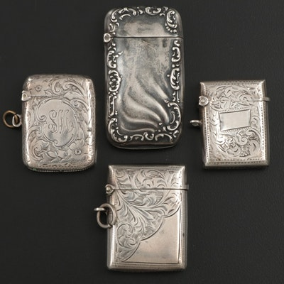 English and American Sterling Silver Vesta Cases, Late 19th/Early 20th Century