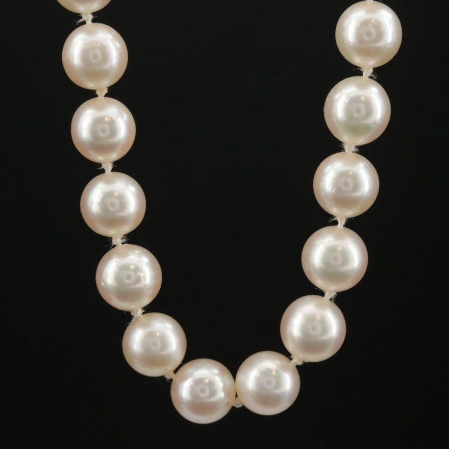 Pearl Opera Length Necklace with 14K Clasp