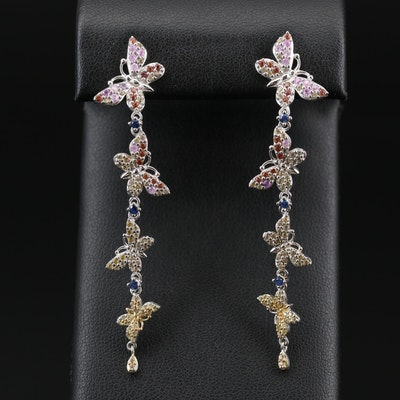Sterling Silver Dangle Butterfly Earrings Featuring Multi-Colored Sapphires