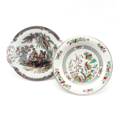 "Copeland ""Indian Tree"" and Beech & Hancock ""Pekin"" Footed Cake Plates"