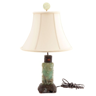 East Asian Carved Fluorite Table Lamp with Shade