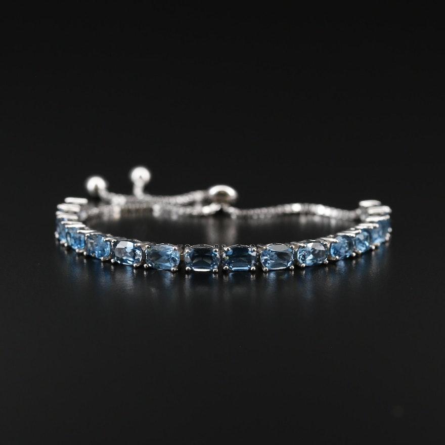 Sterling Silver Topaz Bolo Bracelet
