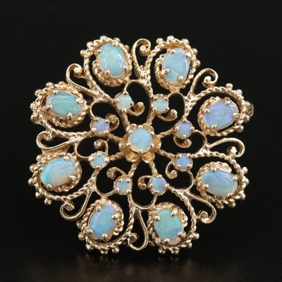 14K and Opal Open Work Medallion Style Brooch