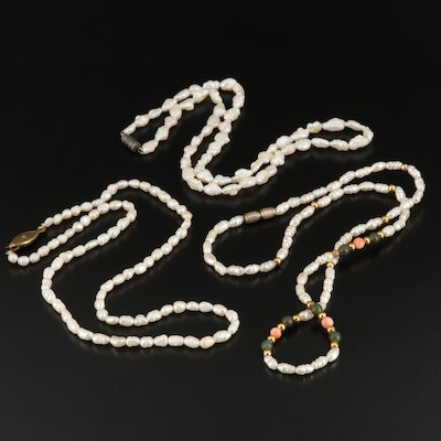 Pearl, Faux Pearl and Coral Necklaces and Pearl Pendant