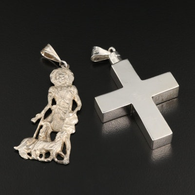 Religious Themed Sterling Silver Pendant Featuring Cross and Shepherd Designs