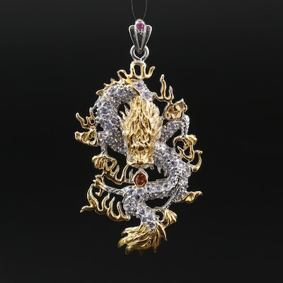 Sterling Silver Chinese Dragon Pendant with Ruby, Tanzanite and Sapphire