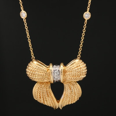 18K and 14K Diamond Bow Station Necklace
