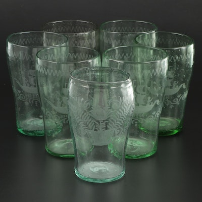 Handblown Green Glass Tumblers with Etched Floral and Ship Motifs, Early 20th C.