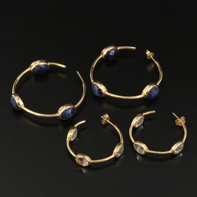 Pairing of Rock Crystal Quartz and Lapis Lazuli Inside Out Earrings