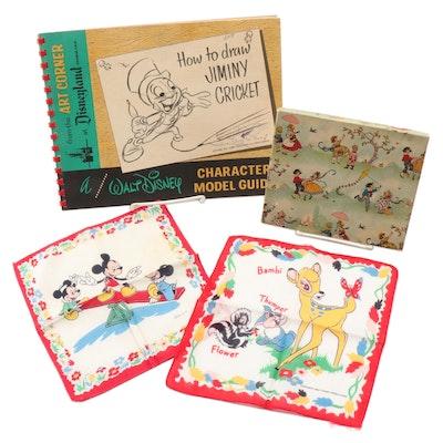 Walt Disney Mickey/Minnie/Bambi Handkerchiefs and Jiminy Cricket Art Book, 1950s