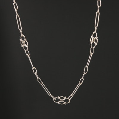 Platinum Fancy Link Chain Necklace