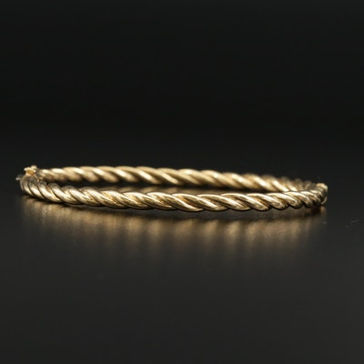 18K Twisted Hinged Bangle Bracelet