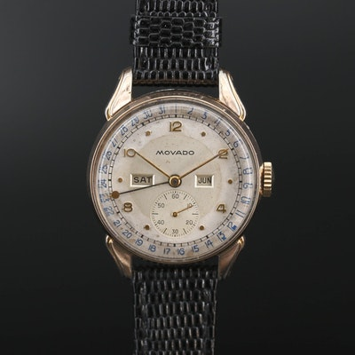 Vintage Movado Calendograf Triple Calendar Gold Tone Stem Wind Wristwatch