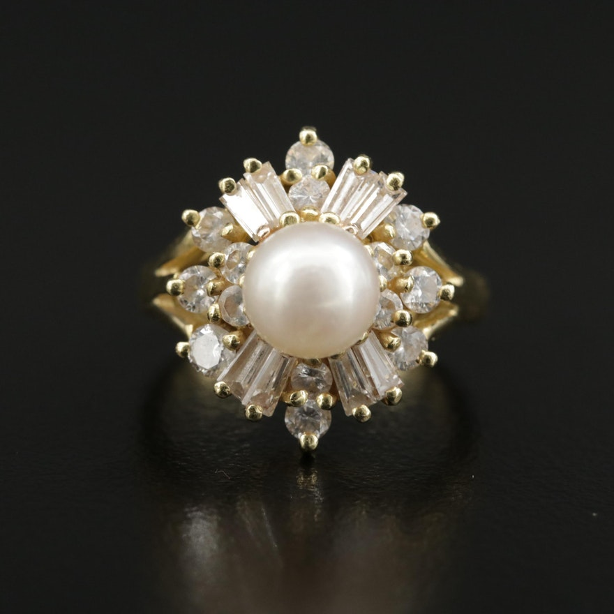 18K Pearl and 1.20 CTW Diamond Ring