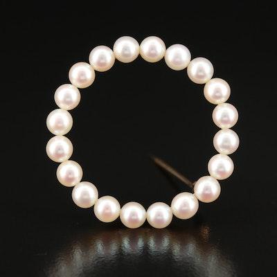 Vintage 14K Pearl Circle Brooch