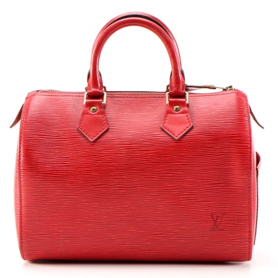 Louis Vuitton Speedy 25 Satchel in Red Epi Leather