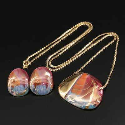 Painted Porcelain Earrings and Pendant on 18K Serpentine Chain