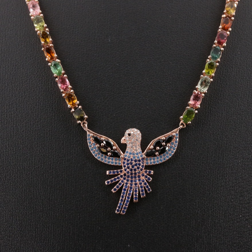 Sterling Silver Tourmaline, Citrine, and Cubic Zirconia Eagle Pendant Necklace