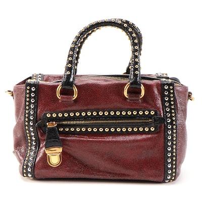Prada Talco Craquele Leather Studded Bauletto Bag