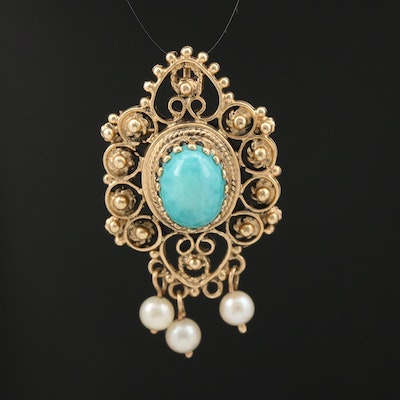 14K Turquoise and Pearl Converter Brooch